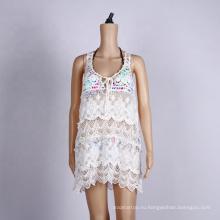 Сексуальное белое кружевное пляжное платье Summer Cover Up