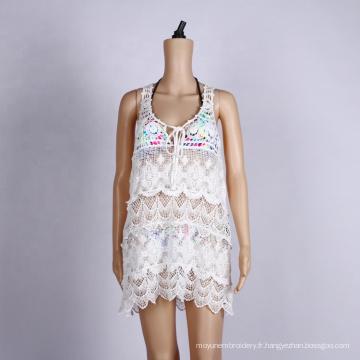 Robe de plage sexy en dentelle blanche