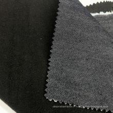 Tissu collé denim bleu marine profond
