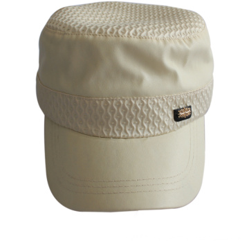 Hot Sale Plain Leather Army Cap with Flexfit Sweatband