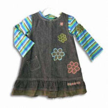 Children's Suit with 180gsm Cotton Y/D Jersey Top and 100% Cotton Denim Skirt, Garment Wash