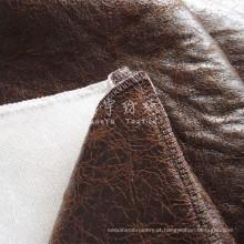 Tecido de couro sintético bronzeado com costas grossas e coladas