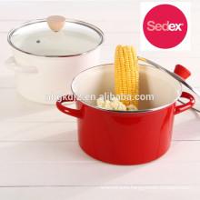 enamel handle carbon steel enamel high stock pot cookware set