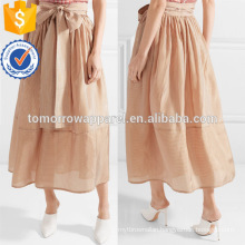 Belted Ivory And Brown Striped A-Line Midi Summer Skirt Manufacture Wholesale Fashion Women Apparel (TA0051S)