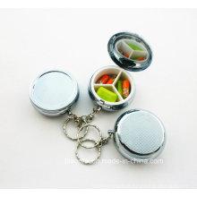 Caso de pílula personalizada com chaveiro, caixa de pílula redonda com chaveiro