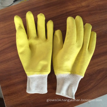 yellow color interlock fully coated nitrile gloves