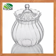 Clear Crystal Glass Jar with Lid for Candy or Sugar