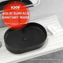 Dark grey solid surface stone resin acrylic bathroom sink