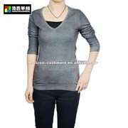 V Neck Pullover, Cold Dye Sweater, Basic Pullover