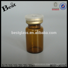 Botella de cristal médica ambarina redonda 7ml para la venta, botella de cristal química ambarina, pequeña botella de cristal farmacéutica proveedor