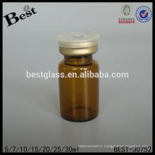 Bouteille médicale en verre ambre ronde de 7ml à vendre, bouteille en verre chimique ambre, pharmaceutique petite bouteille en verre fournisseur