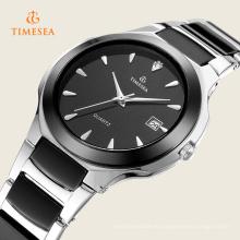 Relojes de pulsera de acero inoxidable de color negro para hombres 72330