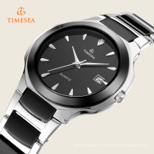 Нержавеющей стальной цепи черный цвет наручные часы для мужчин 72330