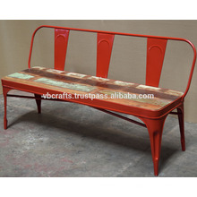 Banco urbano industrial del desván Color rojo Asiento de madera recuperado
