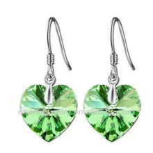 Moda en forma de corazón Peridot Pendientes de cristal para las mujeres 4MM pendiente de cristal hookSE-001B