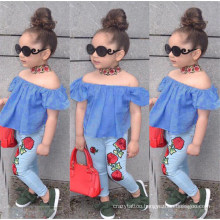 New Arrival Summer Girls Short Sleeve Crew Neck Blue Top 3D Rose Jeans Two-Piece Girl Clothes