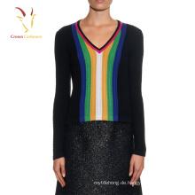 Langarm-Kabelstrick-Pullover Farbvertikaler Streifen-Pullover