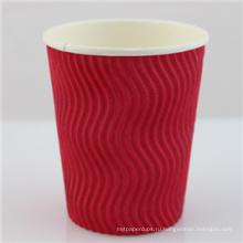 12 унций одноразовые бумажные кофейные чашки черный Withlid