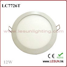 Diodo emissor de luz Recessed redondo das luzes de painel de Instal 12W / luz lisa LC7726t