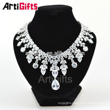Gorgeous White Gold Plate Diamond Luxury Gemstone Necklace For Women