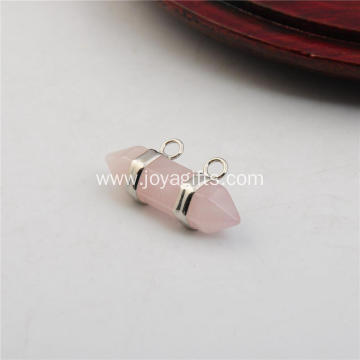Rose Quartz Hexagon Bicone Pendant for Jewelry Earring as Birthday Gift