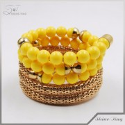 fashion yellow acrylic jewelry multilayer bead bracelet bangle