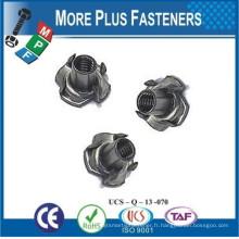 Fabriqué à Taiwan Steel 3 Prong 4 Prong Sigma Rivet Tee Nuts