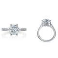 18-Karat White Gold Mounting with Cushion Cut CZ Micro Pave Set Diamonds