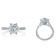 18-Karat Oro Blanco Montaje con Cushion Cut CZ Micro Pave Set Diamantes