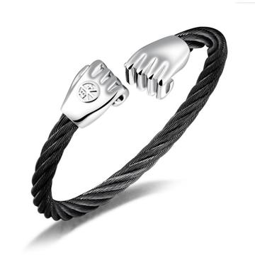 Gelang Stainless Steel Gold Fist Charm Wire Bangle
