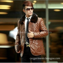 Man's Genuine Leather Jacket with Mink Fur Collar (CML5001)