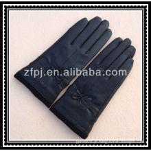 40 centímetros moda lã de couro luvas de pulso de tricô
