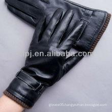 men's plain pattern rib cuff leather gloves