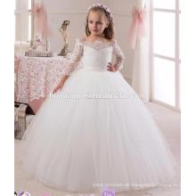 Langer Stil Reißverschluss zurück weiße Farbe Spitze Mädchen Party tragen westlichen Kleid für Mädchen
