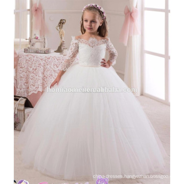 Long style zipper back white color lace girl party wear western dress for baby girl