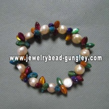 Freshwater pearl with multicolor shell women bracelet