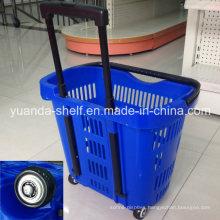 Handle Supermarket Store Customer Shopping Plastic Wheel Basket