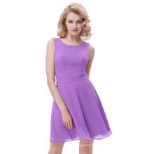 Kate Kasin Mulheres simples sem mangas em torno do pescoço Chiffon A-Line Lavender vestido de verão KK000625-4