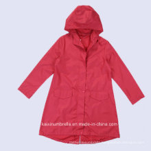 High Quality Long Red PVC Men Raincoat