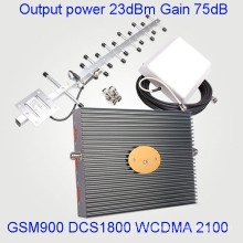 Tri Band Signal Booster Signal Repeater für GSM900 Dcs 1800 3G 2100MHz