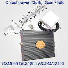 Repetidor de la señal del aumentador de presión de la señal de la venda tri para GSM900 Dcs 1800 3G 2100MHz