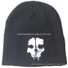 OEM Produce cráneo impreso hombres negros de deportes de snowboard de acrílico de punto personalizado lana Beanie