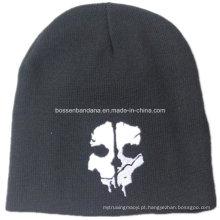 OEM Produce Skull Impresso Black Men's Sports Snowboard Acrílico Knit personalizado Beanie Lã