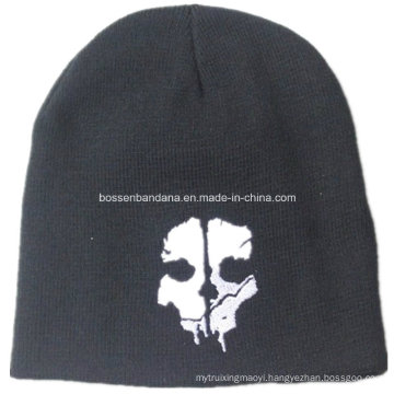 OEM Produce Skull Printed Black Men′s Sports Snowboard Acrylic Knit Customized Wool Beanie