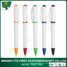 Бесплатная пробная белая цветная пластиковая шариковая ручка для продвижения