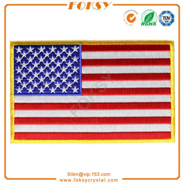 New Arrival for Custom Fabric Patches USA Flag iron on embroidery patch export to Japan Factories
