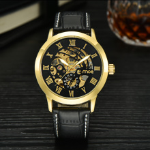 custom leather auto mechanic leather men wrist watch