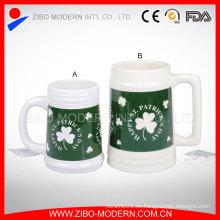 Taza de cerveza cerámica grande con diseño de la impresión en diversos colores