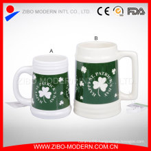 Large Ceramic Beer Mug with Imprint Design in Different Colors