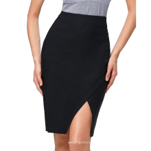 Kate Kasin Mujer de alta cintura Alta Estirada Irregular Hem Hembra-Envuelta corta falda negra KK000287-1